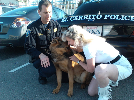 El Cerrito PD Officer Leone and K9 King with Suzanne Saunders, Co-Founder K-9 Armor