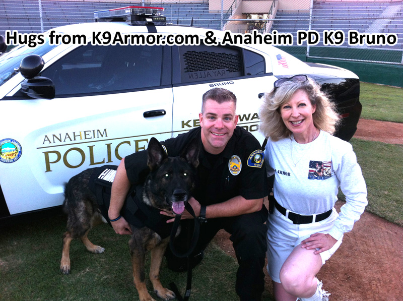 Anaheim PD K9 Bruno survived a gun shot to the face. His vest went to K9 Halo, his successor.