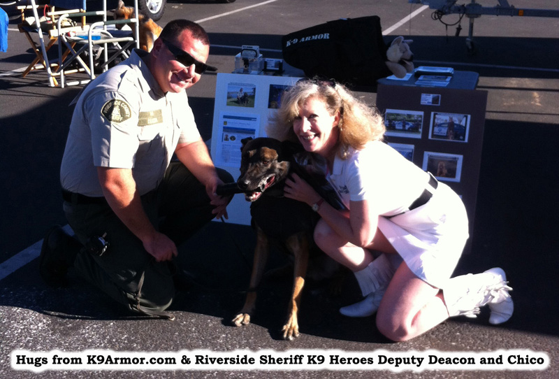 Suzanne Saunders, K-9 Armor co-founder and Riverside Sheriff Deputy Deacon and K9 Chico