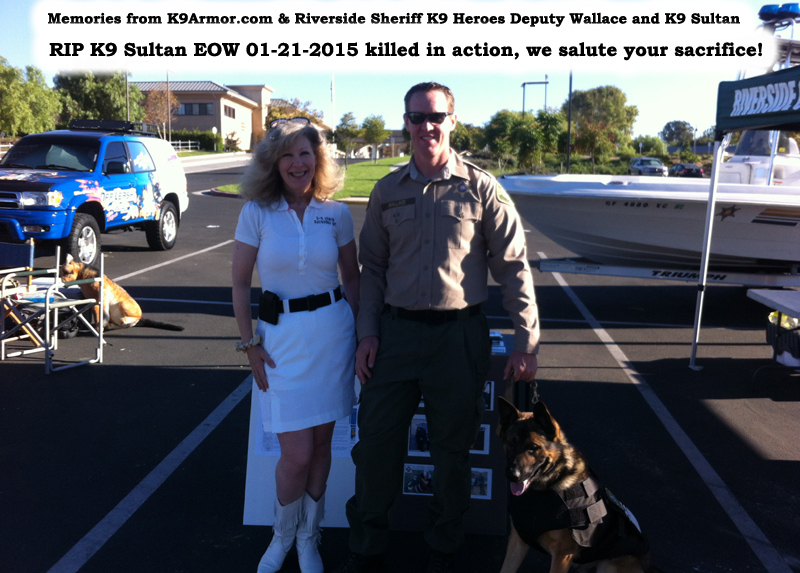 Suzanne Saunders, K-9 Armor co-founder and Riverside Sheriff Deputy Wallace and K9 Sultan